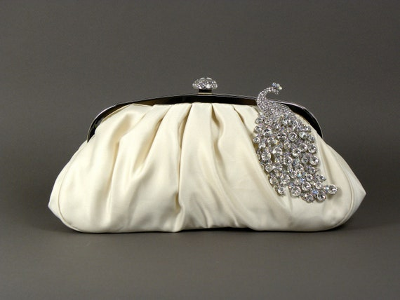 Ivory Satin Bridal Clutch, Ivory Wedding Clutch with Rhinestones and Pave Crystal Peacock Brooch