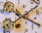 MUSIC Hair Pins Clips: Music Gifts, Gift for Music Lover Musician Student, Antique Sheet Music, Musical Notes, Gift Box, Ready to Ship