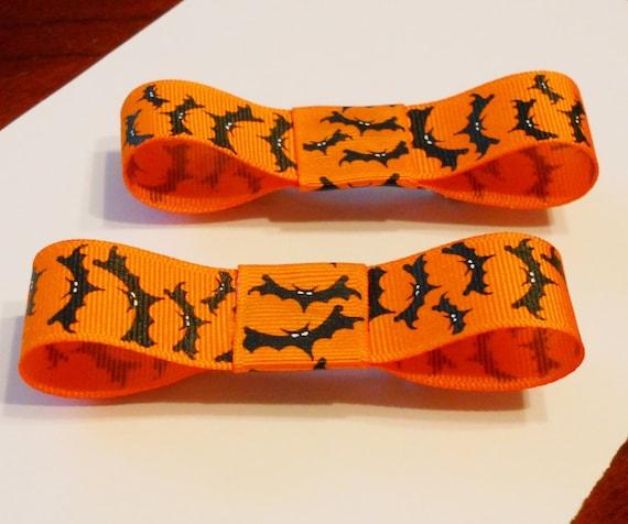 BATS Barrette Set (2) -- Bows, Hair Clip, Orange, Black, Halloween, Wings, Flying, Batty, Goth, Updo, Costume, Spooky, Cute