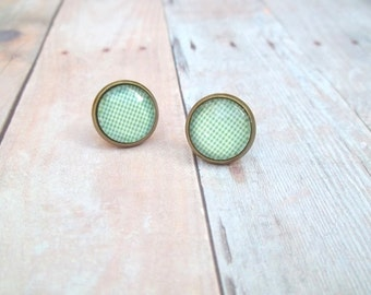 M I N T Y - Mint Green and White Cross Hatch Plaid, Photo Glass Cab, Antique Bronze Stud Earrings, 12mm