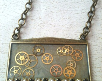 Watch Gears, Pearls, and Crystals Steampunk Necklace