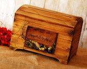 Medium Rustic Card Box for Wedding Cards with card slot Happily Ever After Mossy Design
