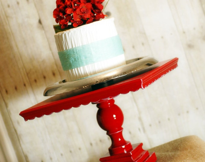 "12"" Square Shabby Chic RED Pedestal Antiqued Cake Stand -  any color available"