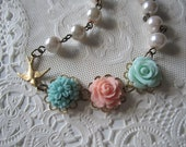 Flower Charm Necklace Brass Sparrow Necklace Shabby Chic Vintage Style Pink Pearl Necklace Collage Necklace