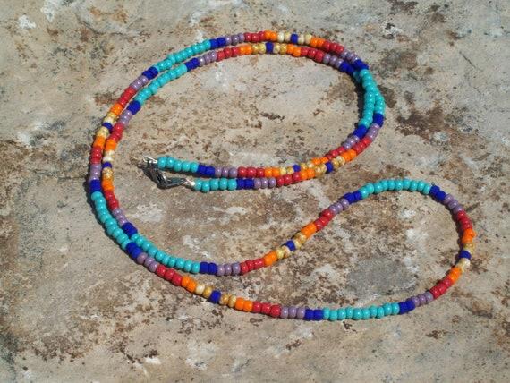 Long Beaded Necklace or Wrap Bracelet - Hippie Blues