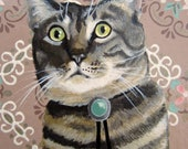 CAT IN A BOLO - 5 x 7 oil painting on wallpaper