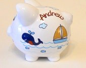 Personalized Piggy Bank Blue Whales with Sailboats, Fish and Ocean