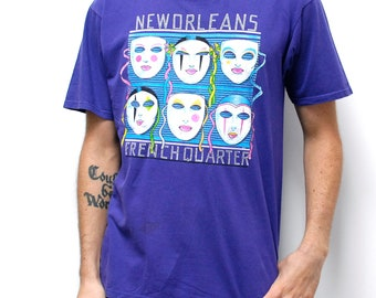 vintage mardi gras NEW ORLEANS french quarters t-shirt made in USA punk tragic rose t-shirt top men's vintage