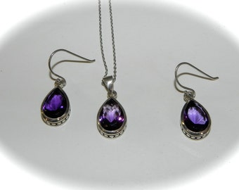 Vintage Necklace and Earring gift set Sterling Silver Tear Drop Amethyst - on sale