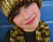 ON SALE Young Boys Hat and Scarf Set, Knit, Camoflauge Multicolor, with Black, Brown, Lime, Olive Green and Cream