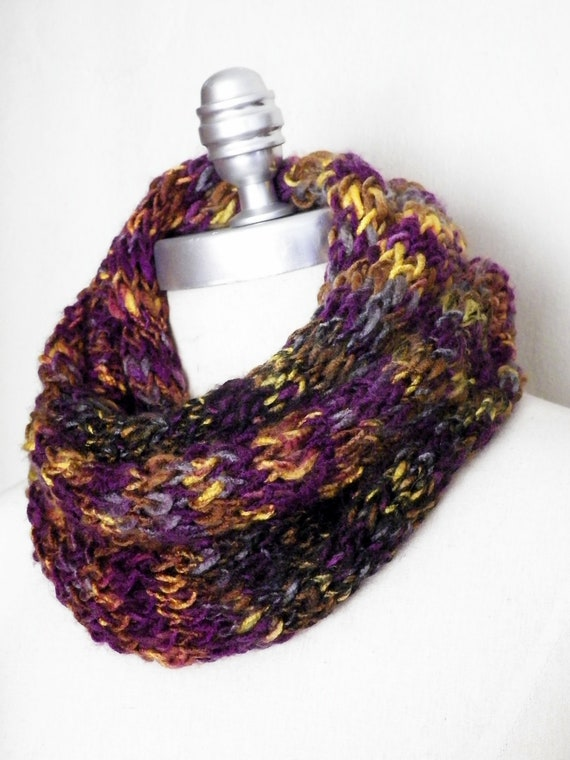 Fashion Knitwear Infinity Scarf Multicolor Fall Purple Gold Black Brown Lavender Circle Scarf, Mobius Scarf,