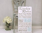 Kitchen Rules Wood Sign. Handpainted Family Rules for the kitchen. Word Art.