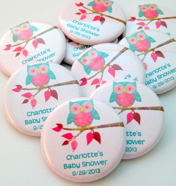 owl baby shower favors ten personalized inch button magnets