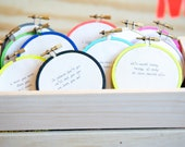 custom - typewritten cursive hoop - 3'' wall hanging gift with quote or saying // RugglesMade