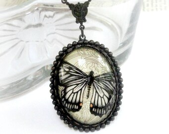 Butterfly Necklace - Cameo Necklace - Neo Victorian Jewelry - Black Butterfly Pendant - Victorian Necklace - Glass Cameo - Butterfly Cameo