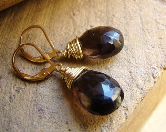 Smoky Quartz Earrings - Gold Wire Wrapped Jewelry