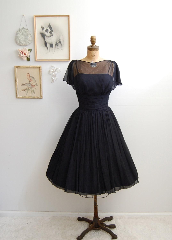 Vintage 1950s Black Cocktail Dress 50s Full Skirt Dress