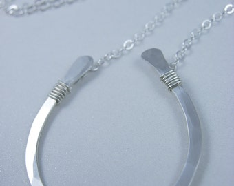 Large Horseshoe Necklace Sterling Silver or 14k Gold Fill