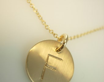 Tiny Initial Necklace 14k gold fill