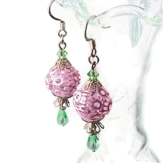 pink green earrings bead dangle earrings jewelry clearance