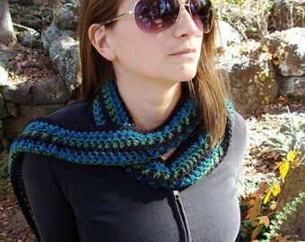 Long blue and green skinny crochet scarf