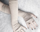 Silent Sahara Arm Warmers | Heather Tan Grey Soft Organic Cotton | Yoga Gothic Tribal Bellydance Sleeves Running Cycling Earth Light Goth