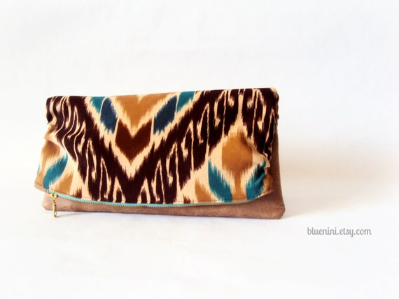 The Luxe Clutch - Foldover Clutch - Brown and Teal Blue Ikat Moleskin