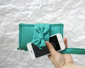 Free Shipping Iphone 5 // Iphone 4 // Samsung S3 Turquoise Green Silk Dupioni  Case And Wallet Valentines Day gift