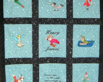 Custom Embroidered Peter Pan Quilt / Blanket -  Personalized with Name - other fabric choices - available for Baby Registry and Payment Plan