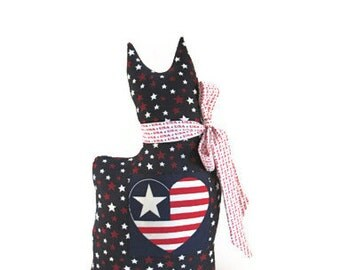 Red White Blue, Patriotic, Cat Pillow, Cat Sitter, Stars, Stripes, Cat Doll, Shelf Sitter, Pillow, USA, July 4th, Cat Silhouette, Country