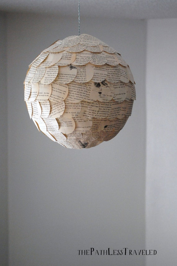 Items Similar To Scalloped Paper Lantern Upcycled Vintage