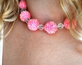 Vintage 50s Pink Bubble and Crystal Choker Necklace
