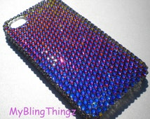 For iPhone 5 5S - Exquisite Meridian Blue - Multi Color - Crystal Diamond Rhinestone BLING Back Case handmade with Swarovski Elements