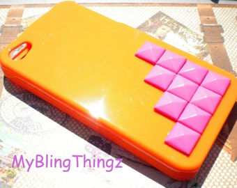 Bright Hot Pink Pyramid Studs on Tangerine Orange 2 piece Case Cover for Apple iPhone 4 4G 4S AT&T Verizon Sprint