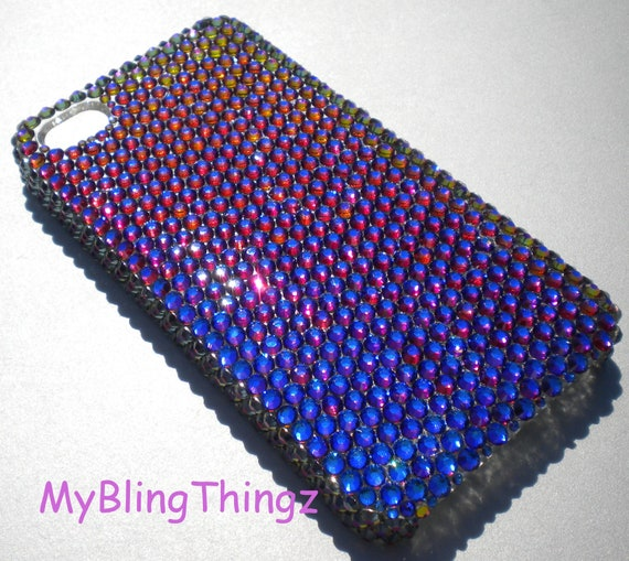 Exquisite Meridian Blue - Multi Color - Crystal Diamond Rhinestone BLING Back Case for Apple iPhone 4 4G 4S handmade with Swarovski Elements
