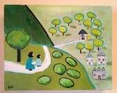 "11x14"" The Walk Home- original folk art cottage hill landscape canvas painting"