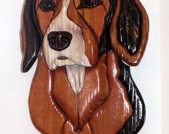 Beagle Handmade Intarsia Wood Dog Art