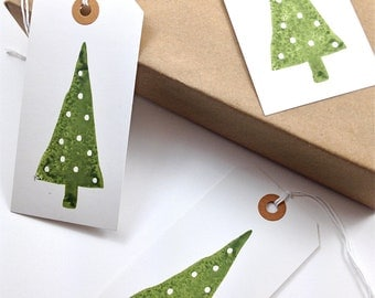 Christmas Tree Gift Tags - White Polka Dot Snow - Modern Christmas