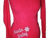 Santa Baby Maternity T Shirt Christmas Maternity Tee RED