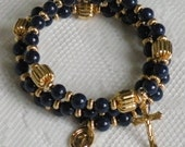Five Decade Catholic Rosary Bracelet - Dark Blue Riverstone with Small Miraculous Medal - Available in Gold or Silver
