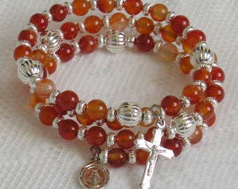 Five Decade Catholic Rosary Bracelet - Red Agate with Silver Miraculous Medal