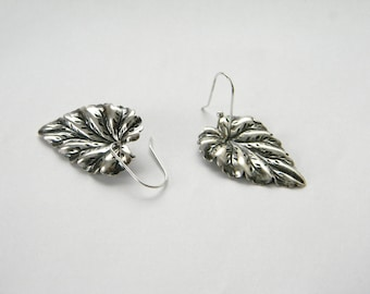 Silver leaf earrings. Made in Maine. Textured silver earrings. Unique handmade sterling silver earwires. Earth earrings. Leaves. Fall Autumn
