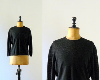 Vintage 1960s black sweater. 60s sparkle knit pull. top
