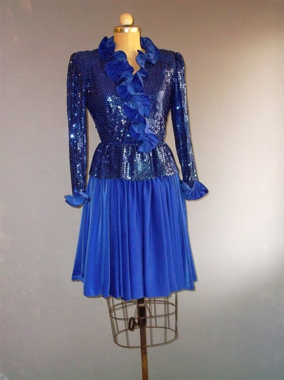 70s ruffled faux wrap dress / costume / s sm