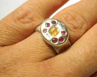 Sapphire Ruby Ring Byzantine Roman Style Ring Fine Silver Recycled 5.25 One Of A Kind Rare Handmade by Lisajoy Sachs Design PMC Jewelry
