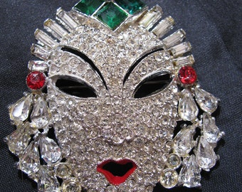 Art Deco Rhinestone Enamel Face Mask Brooch