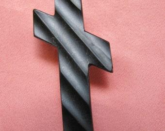 Victorian Brooch - Vulcanite Mourning Cross