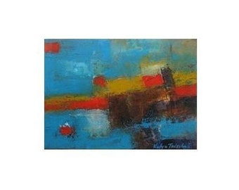 "Turquoise and Red Oil Painting, aqua Blue oil Absatrct Painting,10x14"" Original Oil on Paper painting"