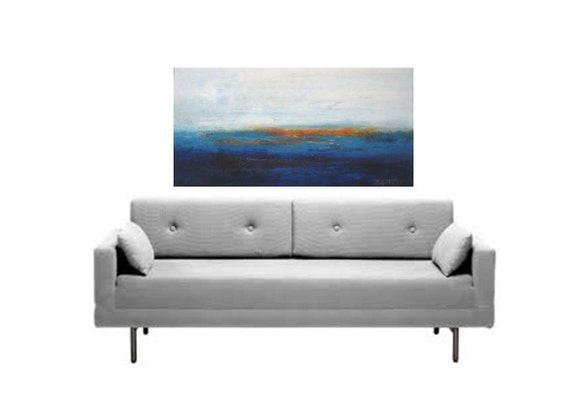 """by Katya Trischuk Toronto artist 48""""x24""""  Abstract Country side Lakeshore original oil painting on think frame canvas Canadian Etsy shop art"""