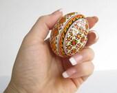 chicken egg ornament,batik painted Pysanka egg,Ukrainian Easter basket,best gift for Slavic parents inlaw,very detailed pisanka,Pysanky tree